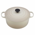 Le Creuset Signature Enameled Cast Iron 9 Quart Round French Oven, Dune White