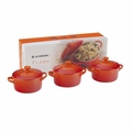 Le Creuset Stoneware 3 Piece Mini Round Casserole Gift Set, Flame Orange