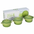 Le Creuset Stoneware 3 Piece Mini Round Casserole Gift Set, Palm Green
