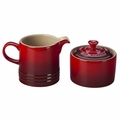 Le Creuset Stoneware Cream and Sugar Set, Cherry Red