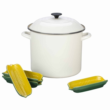 Le Creuset Sweet Corn 12 Quart Stockpot Set, White