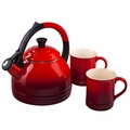 Le Creuset Teakettle and Mug Gift Set, Cherry Red