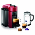 Nespresso Vertuoline Evoluo Espresso Maker with Aeroccino Plus Milk Frother, Red