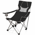 Picnic Time Folding Portable Campsite Chair, Black - Grey