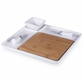 Picnic Time Legacy Peninsula Cutting Board Serving Tray with Cheese Tools