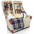 Picnic Time Pioneer Picnic Basket with Deluxe Service for Two, Tan - Navy