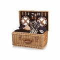 Picnic Time Windsor English Style Willow Picnic Basket with Deluxe Service for 4