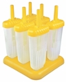 Tovolo Set of 6 Groovy Pop Frozen Treats Molds, Yellow