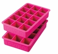 Tovolo Set of 2 Perfect Cube Ice Trays, Fuchsia