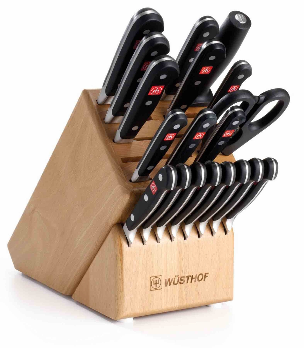 kitchen knives block set wusthof classic cutlery set with knife block 20 piece at. beautiful ideas. Home Design Ideas