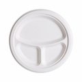 Eco-Products Renewable and Compostable Sugarcane 3 Compartment Plates - 10 inch - Case of 500