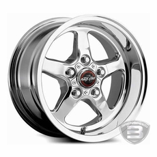 "One (1) Polished Direct Drill  Race Star 15""x 8"" Wheel 5.25"" Backspacing"