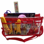 Deluxe Handy Caddy Knit and Crochet Organizer - Clear W/Red Trim