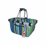 JanetBasket Large Aluminum Frame Basket - Blue Stripes