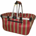 JanetBasket Large Aluminum Frame Basket - Red Stripes