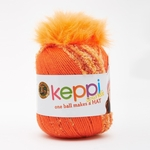 Lion Brand Keppi Yarn - Orange Fizz - Sparkle