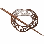 Paradise Exotic - Freeform Scrolled Coconut Shawl Pin