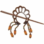 Paradise Exotic - Scrolled Coconut & Bead Shawl Pin (Clearance)