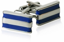 2 Bar Blue Cufflinks