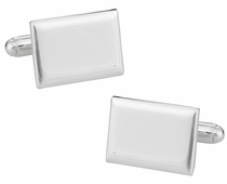 925 Sterling Silver Engraveable Rectangular Cufflinks