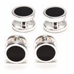 925 Sterling Silver Onyx Stud Set