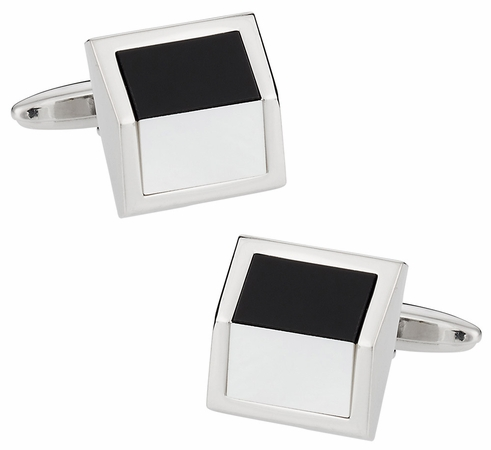 Angled Onyx Mother of Pearl Cufflinks