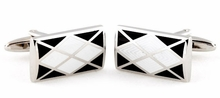 Argyle Cufflinks in Black White