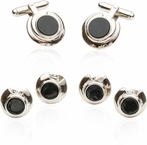 Art Deco Onyx and Silver Formal Set
