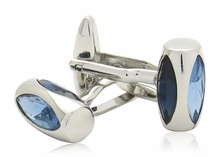 Austrian Aquamarine Glass Vault Cufflinks