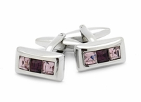 Austrian Crystal Cufflinks in Purple