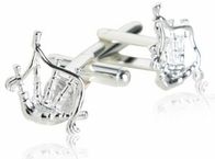 Bagpipe Cufflinks Plated in Sterling Silver