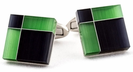 Black and Green Glass Cufflinks