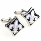 Black and White Fleur De Lis Cufflinks