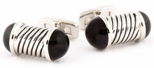 Black Capped Rod Cufflinks
