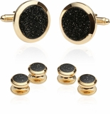 Black Diamond Dust Gold Cufflinks and Studs