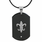 Black Fleur Di Lis pendant with Free necklace