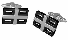 Black & Stainless Steel Gridlock Cufflinks