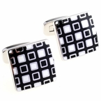 Black White Enamel Square Cufflinks