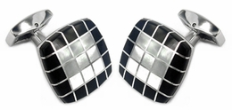 Black White Precious Grid Cufflinks