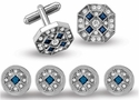 Blue and Crystal Cufflink Stud Set