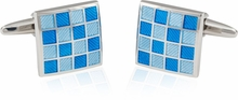 Blue Checkerboard Enamel Cufflinks