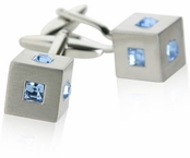 Blue Crystal Cubic Cufflinks