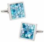 Blue Mother of Pearl Honeycomb Cufflinks