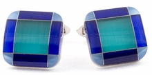 Blue Tone Glass Cufflinks