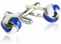 Blue & White Knot Cufflinks