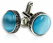 Bright Blue Greek Cufflinks