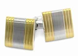 Brushed Gold Silver Cufflinks