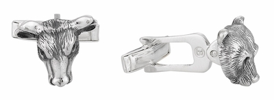 Bull Bear Sterling Silver Head Cufflinks