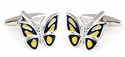 Butterfly Cufflinks - Blue Yellow