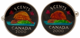 Canadian Beaver Nickel Coin Cufflinks - Hand Painted